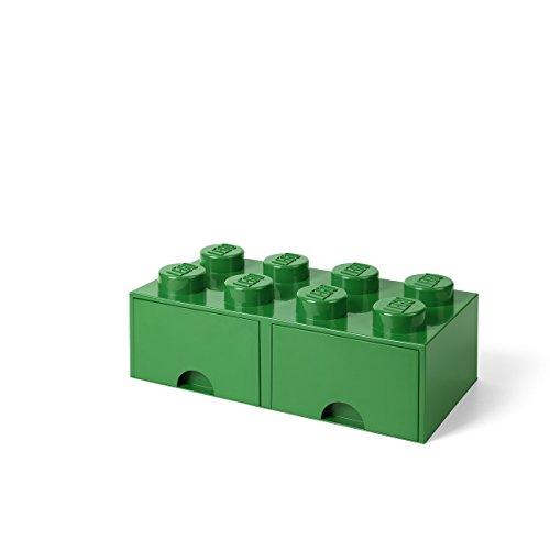 Room Copenhagen-40061734 Caja de Almacenaje Apilable, Ladrillo 8 pomos, 2 Cajones, 9.4 l, color verde (green), 50 x 25 x 18 cm (Lego 40061734)