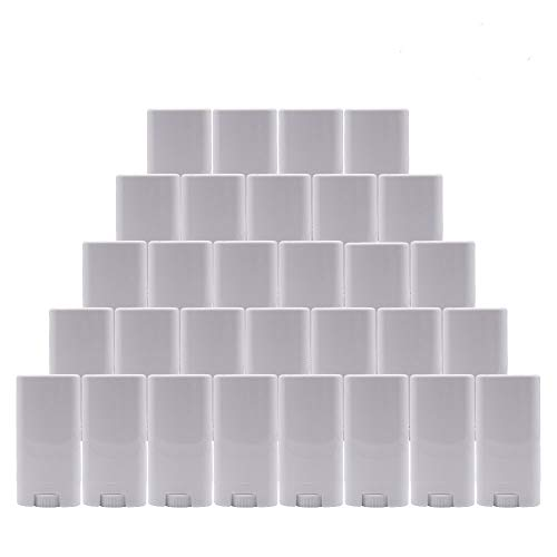 Healthcom 15ml White Plastic Deodorant Containers 0.5 Oz New Empty Oval Lip Balm Tubes for Lipstick Crayon Chapstick DIY Make Your Own Deodorant Moisturizer Lotion Bar,30 Pack