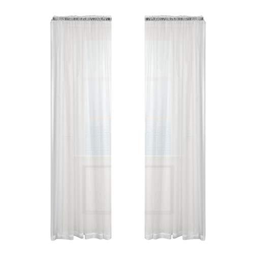 Imikeya Transparante gordijnen van stof met stokjes voor ramen, transparant, tule, voor keuken, slaapkamer, badkamer, café, 200 x 100 cm (wit)
