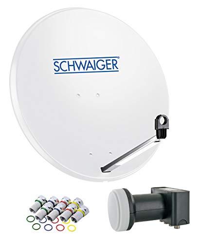SCHWAIGER -500- Sat Anlage, Satellitenschüssel mit Quad LNB (digital) & 8 F-Steckern 7 mm, Sat Antenne aus Stahl, Hellgrau, 75 x 85 cm