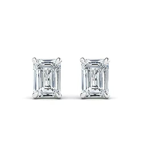Pendiente solitario de diamante esmeralda natural de 1,00 quilates para mujer, oro blanco de 18 quilates