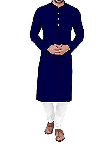 HOLLOW Men's Cotton Casual Straight Kurta for Men Navy Blue
