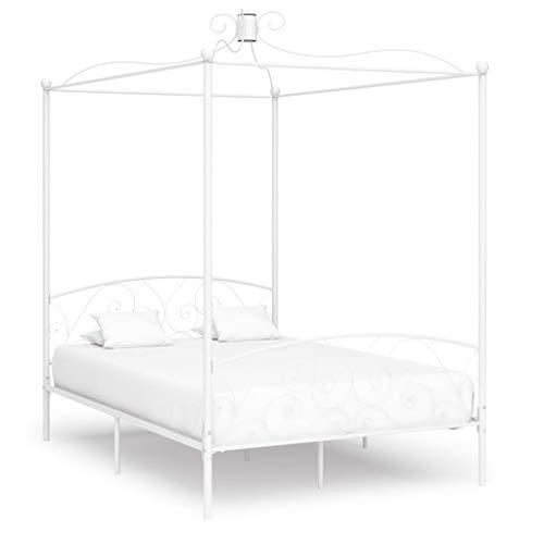 UnfadeMemory Himmelbett-Gestell Metall Bettgestell Himmelbett-Bettrahmen für Schlafzimmer oder Gästezimmer Himmelbett Jugendbett Schlafzimmermöbel ohne Matratze (140 x 200 cm, Weiß)