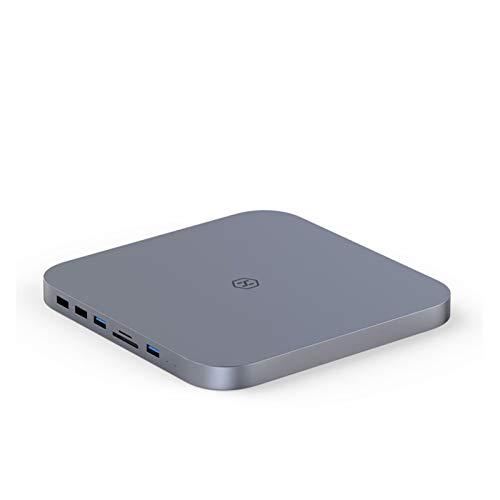 CMDZSW Concesto USB-C con Caja de Disco Duro SATA para Mac Mini USB 3.0 Hub para 2020 New Mac Mini M1 Tipo C Funda SSD SD/TF Reader (Color : Gray)