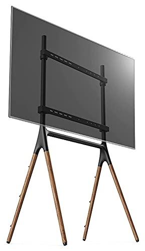 Soporte de suelo para TV móvil para televisores de 49 a 70 pulgadas, base de madera, soporte universal alto con cuerda de seguridad (tamaño: L)