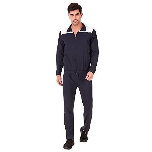 Delexo Men's Nylon Silk Navy Blue Tracksuit