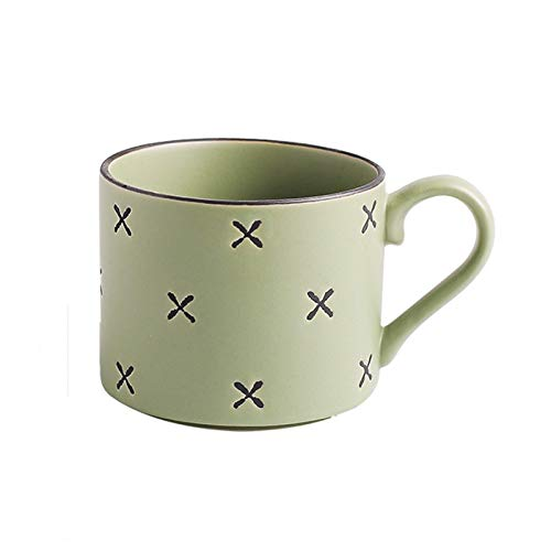 Easy to Carry Ceramic Mug Four-Color Geometric Ceramic Cup, Hand-Painted Colorful Patterned Milk Cup, Simple Breakfast Cup, Personalized Coffee Cup (11.1 Oz) Porcelain Cup (Color : Pink)