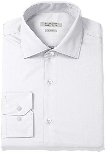 Perry Ellis – Camisa de Vestir para Hombre, Blanco sólido, 16.5″ Cuello 32″-33″ Manga