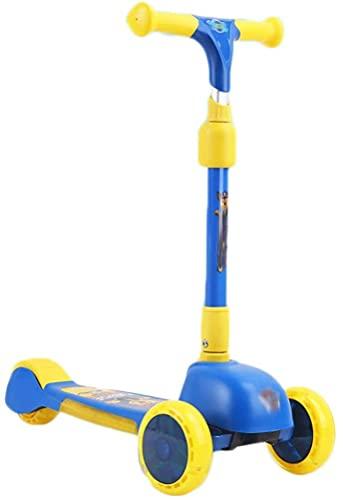 RSTJ Con Efectos de Sonido y luz, de Lujo de 3 Ruedas para niños pequeños 4 Altura Ajustable con Patada S, Magro para dirigir (Color : Blue)
