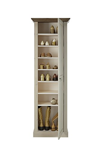 Steens Monaco Garderobenschrank, mit 7 Fächern und ausziehbarer Kleiderstange, 63 x 190 x 42 cm (B/H/T), Kiefer massiv, weiß/grau