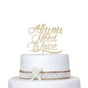 Wedding Cake Topper personalizzabile con motivo 'All You Need is Love Cake D ¨ ¦ cor-Topper per torte, in legno