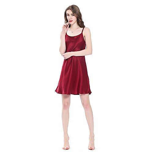 LilySilk Bezaubernd Seide Nachthemd Nachtkleid Nachtwäsche Damen Mini Kurz 16 Momme Weinrot L Verpackung MEHRWEG