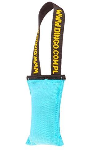 Dingo Hundespielzeug Beisswurst Agility Baumwolle mit Griff handgefertigt für Bisstraining Apportieren Schwimmend Schwimmfähig 15 cm x 6 cm Blau