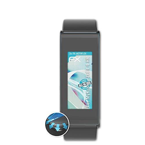 atFoliX Schutzfolie kompatibel mit MyKronoz ZeFit 4 HR Folie, ultraklare und Flexible FX Displayschutzfolie (3X)