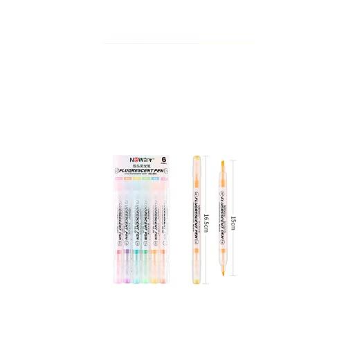 Marcado de doble línea, fluorescente de dos cabezas, utilizado para dibujo artístico, herramientas generales de oficina y de aprendizaje (6 colores)