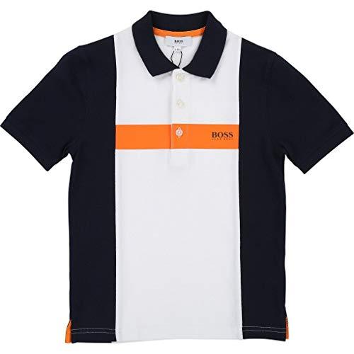 Hugo Boss Poloshirt mit Relief Logo blau Weiss orange Groesse 8 Jahre