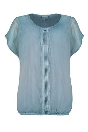 GINA LAURA Damen Bluse, doppellagig, Oversized, Chiffon, Jerseytop Lagune XL 725284 75-XL