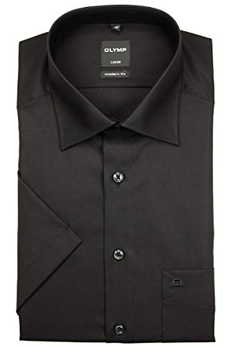 Olymp Luxor Herren Modern Fit Hemd, 0300/12/68, Halbarm, Schwarz, 42