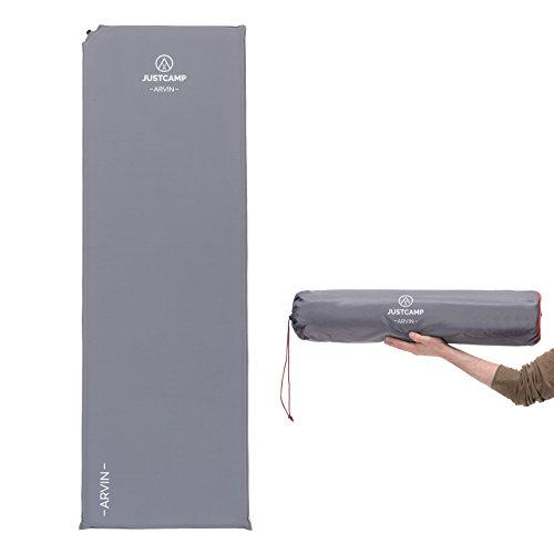 JUSTCAMP Arvin XL 5.0 Isomatte selbstaufblasend mit Antirutsch-Funktion (inkl. Packsack, Kompressionsbänder & Reparaturset)