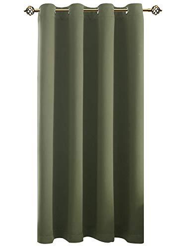 FLOWEROOM Verdunkelungsvorhang Blickdichte Gardinen - Lichtundurchlässige Vorhang mit Ösen für Schlafzimmer Geräuschreduzierung Olivgrün 175x140cm(HxB), 1 Stück