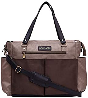BOHO MIA Polyester, PU Diaper Bag/Organizer Large Capacity Hand Bag Convertible to Both Tote and Messenger Style (Beige)