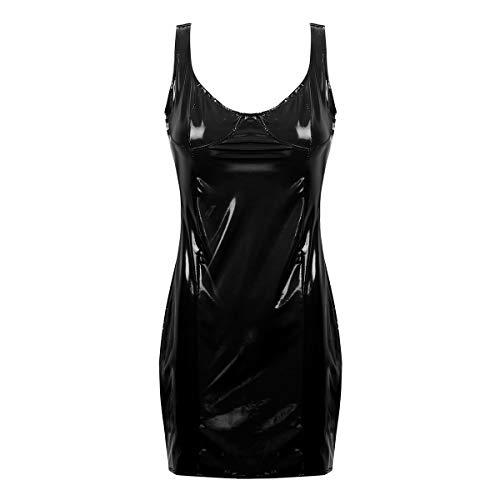 CHICTRY Wetlook Damen Minikleid PU Leder Latex Kleid Lack Leder Dessous Party Nachtclub Kleid mit Einzel/Doppelt Reißverschluss Clubwear Schwarz A XL