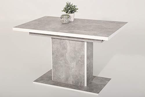 Eternity-Möbel24 Säulentisch Esszimmertisch - LIVENZA - Esstisch Betonoptik/Weiß ausziehbar