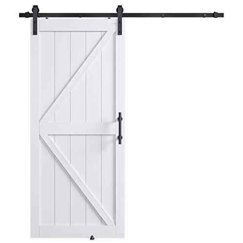 COSHOMER 36in x 84in MDF Sliding Barn Door with 6.6ft Barn Door Hardware Kit & Handle, Pre-Drilled Holes Easy Assembly -Solid Wood Slab Inside Covered with Water-Proof PVC Surface, White, K-Frame