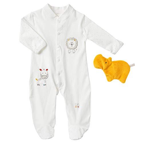 Fehn 056501 Schlafanzug fehnNATUR (68) – Baby-Pyjama-Set: Strampler & Spieltier aus zertifizierter Bio-Baumwolle (kbA), perfektes Erstausstattungs-Geschenk zur Geburt & Taufe