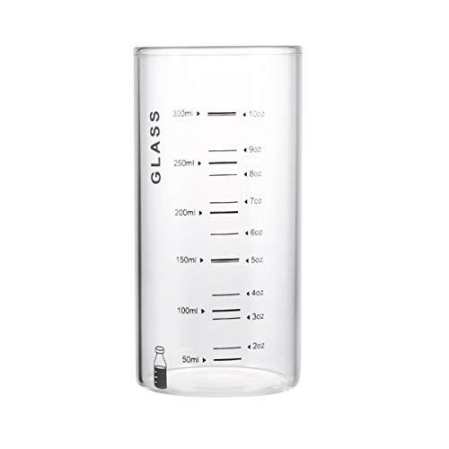 Angoily Taza de Vidrio de Borosilicato Graduado Vasos Portátiles de Bebida de Jugo de Té Helado con Escala para Hornear Taza de Medición para Barra de Cocina Casera 301-400ML