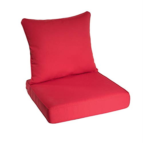 outdoor furniture cushions walmarts Art Leon Outdoor/Indoor Patio Deep Seat Chair Cushion Set, Including One Backrest and One Seat Cushion (Red)