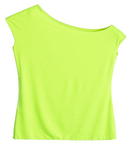 JustinCostume Women's 80's T Shirt 1980's Costume, Neon Green, Medium