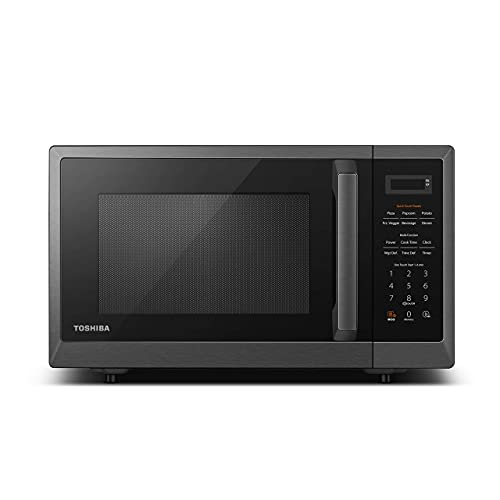 Toshiba ML2-EM09PA(BS) Microwave Oven with Smart Sensor, Position-Memory Turntable, Eco Mode, and Sound On/Off Function, 0.9Cu.ft/900W, Black Stainless Steel (Renewed)