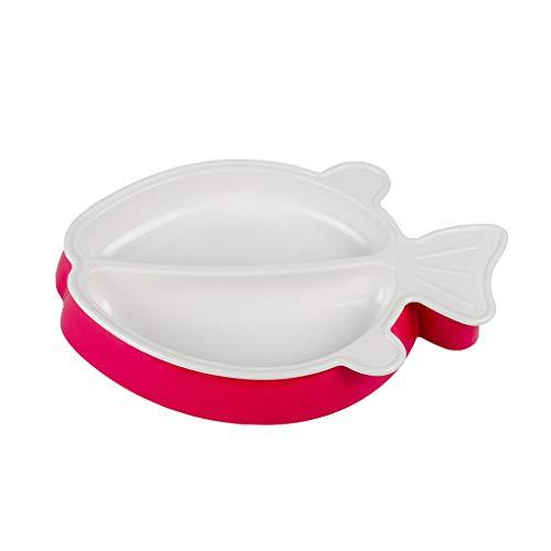 Love lamp Petits Poissons Style Assiette Bébé Carte Vaisselle Infantile Complément Alimentaire Bol Bol Vaisselle pour Enfants (Color : Pink)