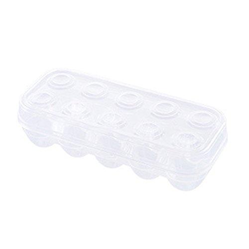 bismarckbeer Eieraufbewahrung für Kühlschrank, transparenter Eierhalter, Behälter, Frischhaltedose, Polypropylen, transparent, 10 Grids