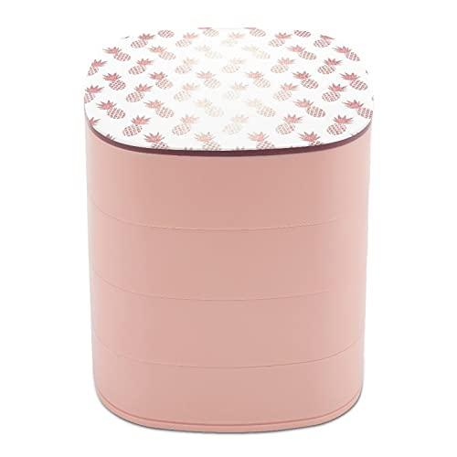 Joyero organizador redondo de 4 capas, giratorio de 360 grados, para anillos, pendientes, collares, pulseras, cuerdas, regalo para niña, madre, piña rosa y dorado