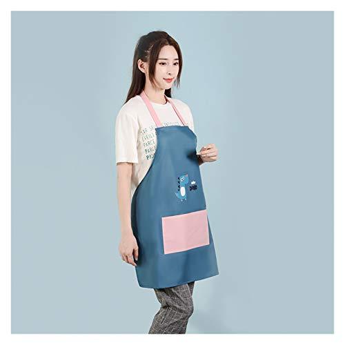Delantal Home Kitchen Spring, verano, otoo e invierno de moda ultrafino lindo delantal (Color : Without wiping hands Blue)