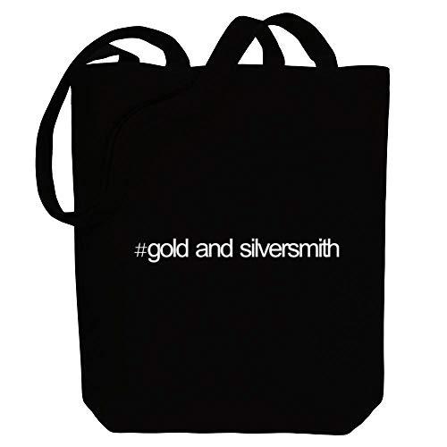 Idakoos Hashtag Gold And Silversmith Bold Text Canvas Tote Bag 10.5' x 16' x 4'