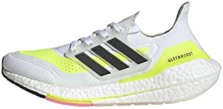 adidas Women's Ultraboost 21 Running Shoe, White/Black/Solar Yellow, 8.5