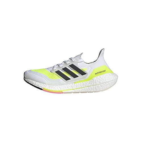 adidas Women's Ultraboost 21 Running Shoe, White/Black/Solar Yellow, 8