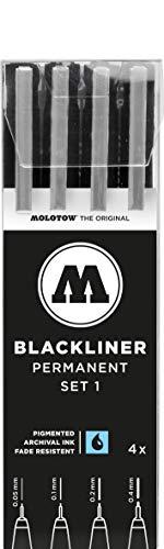 Molotow Blackliner (Fineliner mit permanenter, dokumentenechter Tinte, Strichstärke 0,05 mm bis 0,4 mm) 4er Etui schwarz
