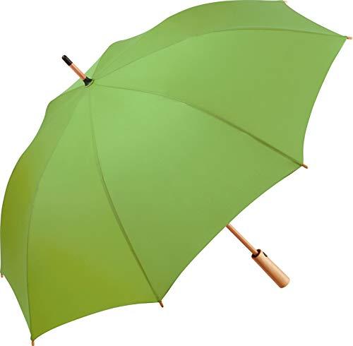 ÖkoBrella nachhaltiger Midsize-Bambus Stockschirm Regenschirm (Oeko-TEX® 100) mit Automatik-Funktion; Bezug aus recycelten Kunststoffen; hochwertiger Bambusgriff; Windproof-System (Limette)
