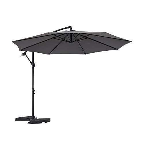 Mondeer Sonnenschirm, Ø300 cm Ampelschirm, Freitragender Regenschirm, Gartenschirm, 3M Alu Gartenschirm, Höhenverstellbarer Kurbelgriff, Wasserdichter, UV-Schutz, für Garten, Terrasse, Dunkelgrau