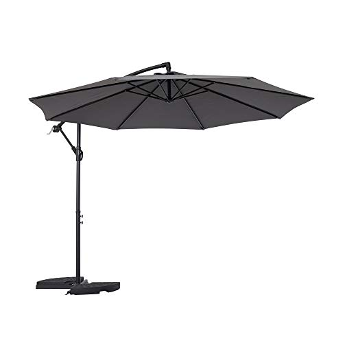 Mondeer 3M Cantilever Parasol, Outdoor Banana Parasol Garden Umbrella, Aluminium Waterproof UV Protection Height...