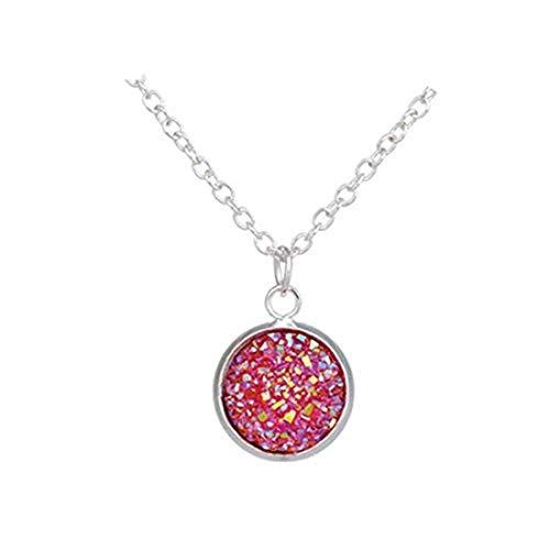 yichahu Crazy Fly Fashion Druse - Collar de cadena natural con colgante de cristal drusa, joyería para mujer, accesorios (plata + rosa)