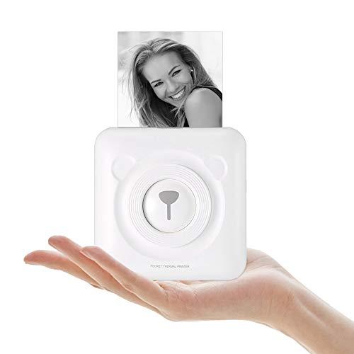 TEEKAR Mini imprimante Thermique, imprimante Thermique sans Fil 203 DPI, imprimante de Poche Mobile bimode, imprimante Photo instantanée Portable personnelle avec Utilisation Polyvalente (White)