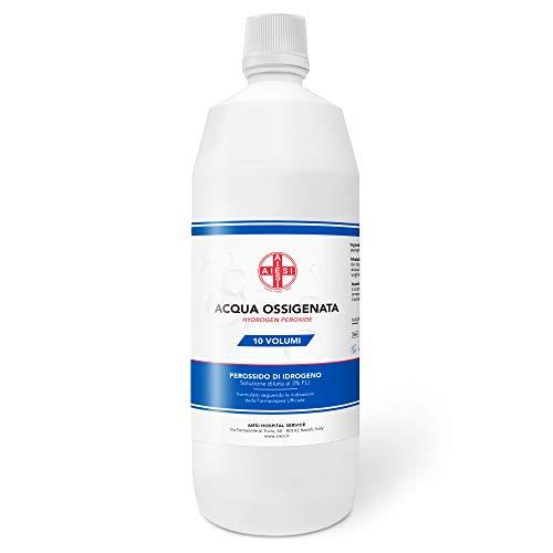 AIESI® Agua Oxigenada desinfectante Ph. Eur. 3% 10 volúmenes con tapa de seguridad para niños botella de 1 litro # Made in Italy