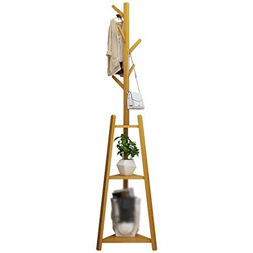 SJY Kleerhangers en kledinghaken van bamboe, voor de voet, eenvoudige kleding, multifunctioneel, voor thuis, slaapkamer, kantoor, kinderen