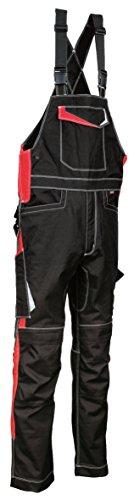 COFRA 48405 Arbeitslatzhose Modell Viseu, Kollektion Ergowear, schwarz/rot (52)