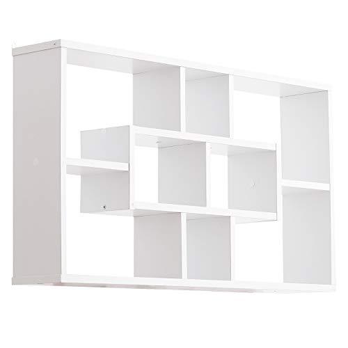 libreria a parete homcom Pensile Libreria da Parete 8 Vani in 3 Diverse Dimensioni Design Antiribaltamento Pannelli di Truciolare Bianco 85x14.5x47.5cm capacità: 20kg